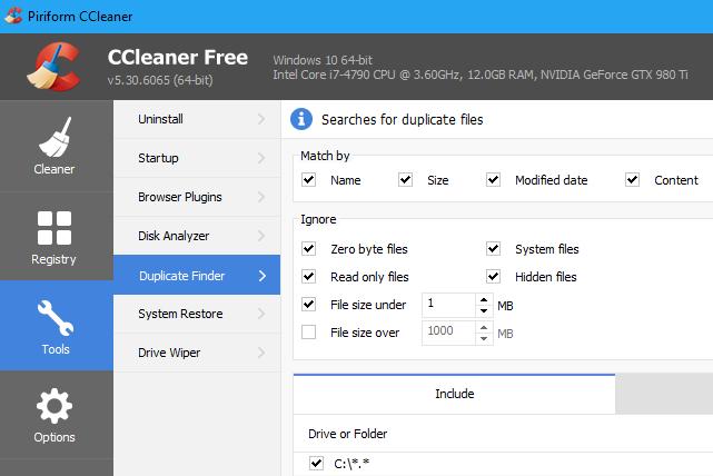 поиск копий файлов - Лучший инструмент, который вы, возможно, уже установили: CCleaner
