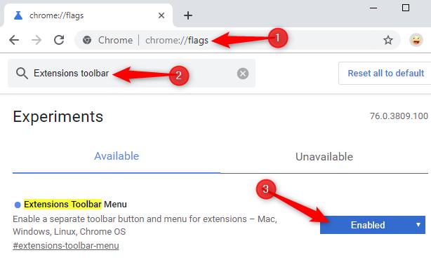 Как включить меню новых расширений Google Chrome - скриншот 2
